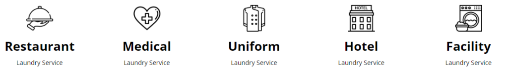 commercial laundry service, industries served: restaurant, medical, uniform, hotel, facility