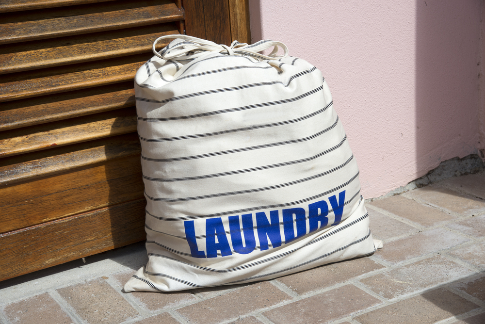laundry bag by door; laundry pick up and delivery service